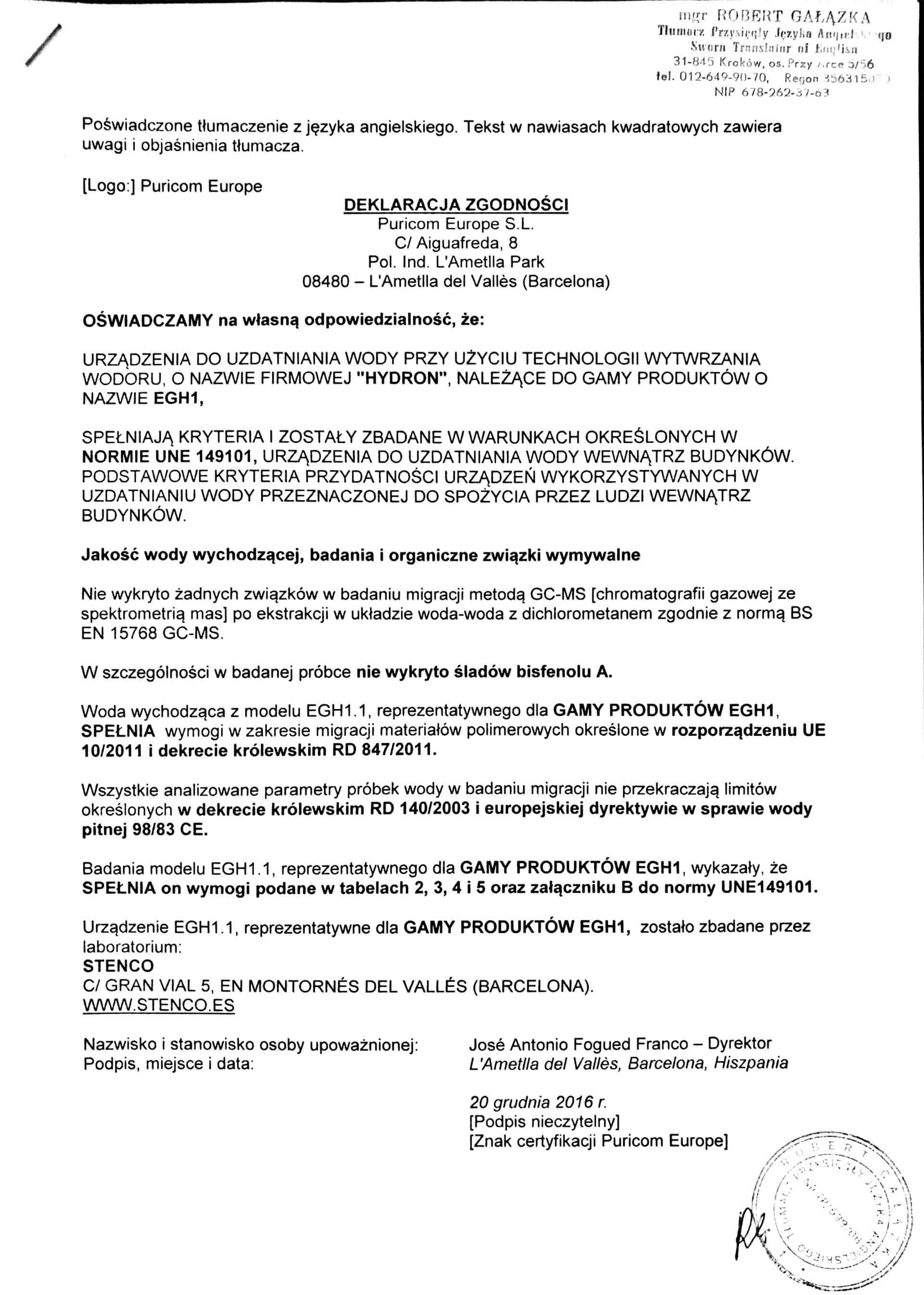 Certyfikat hydron 3