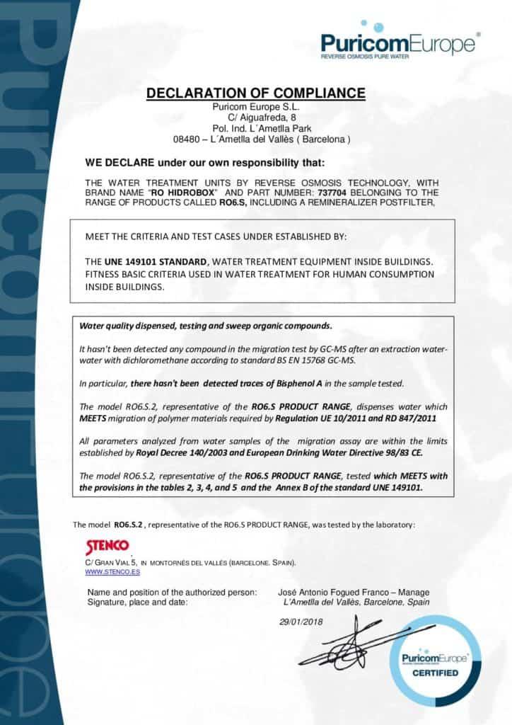 Certyfikat Hidrobox 2